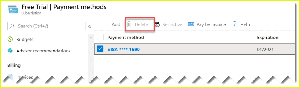 remove credit card from azure subscription