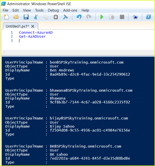 get azure ad users powershell