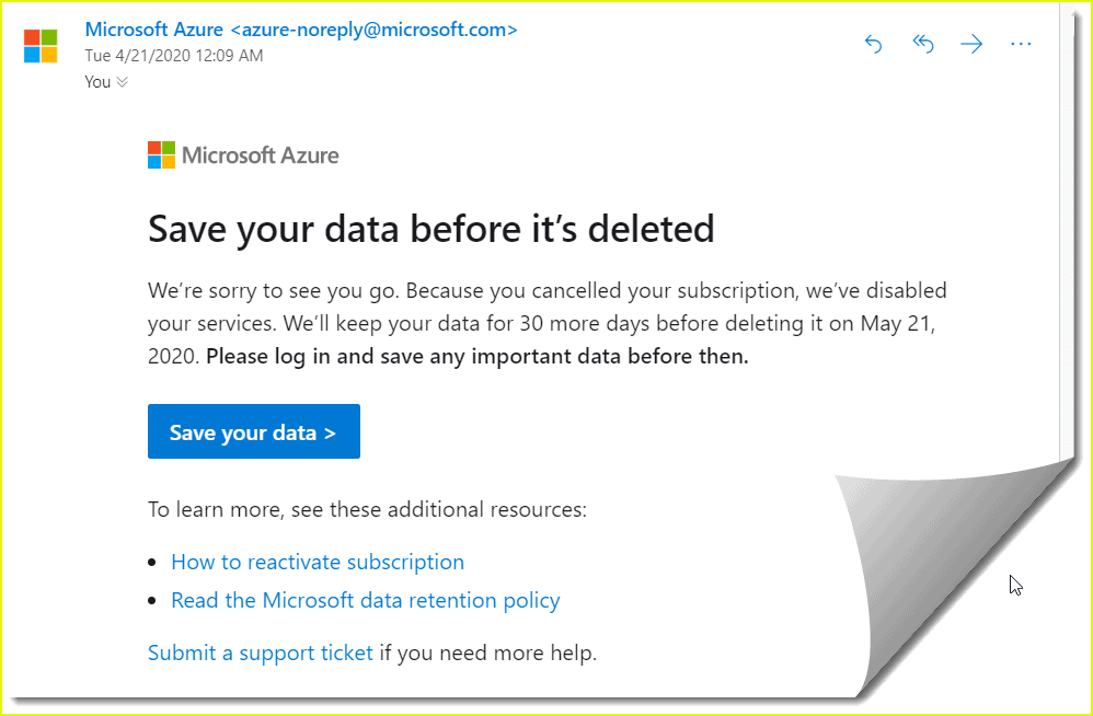 how to cancel azure free subscription