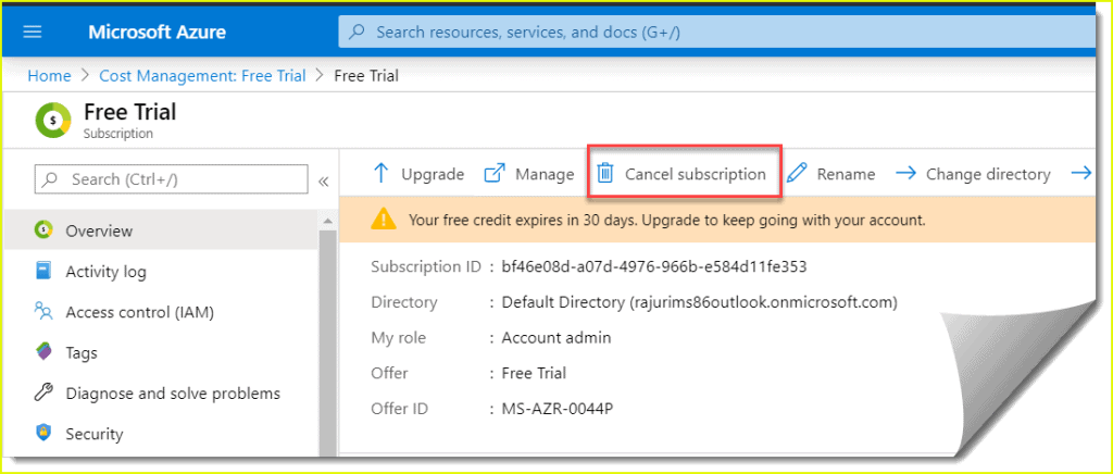 how to cancel microsoft azure subscription