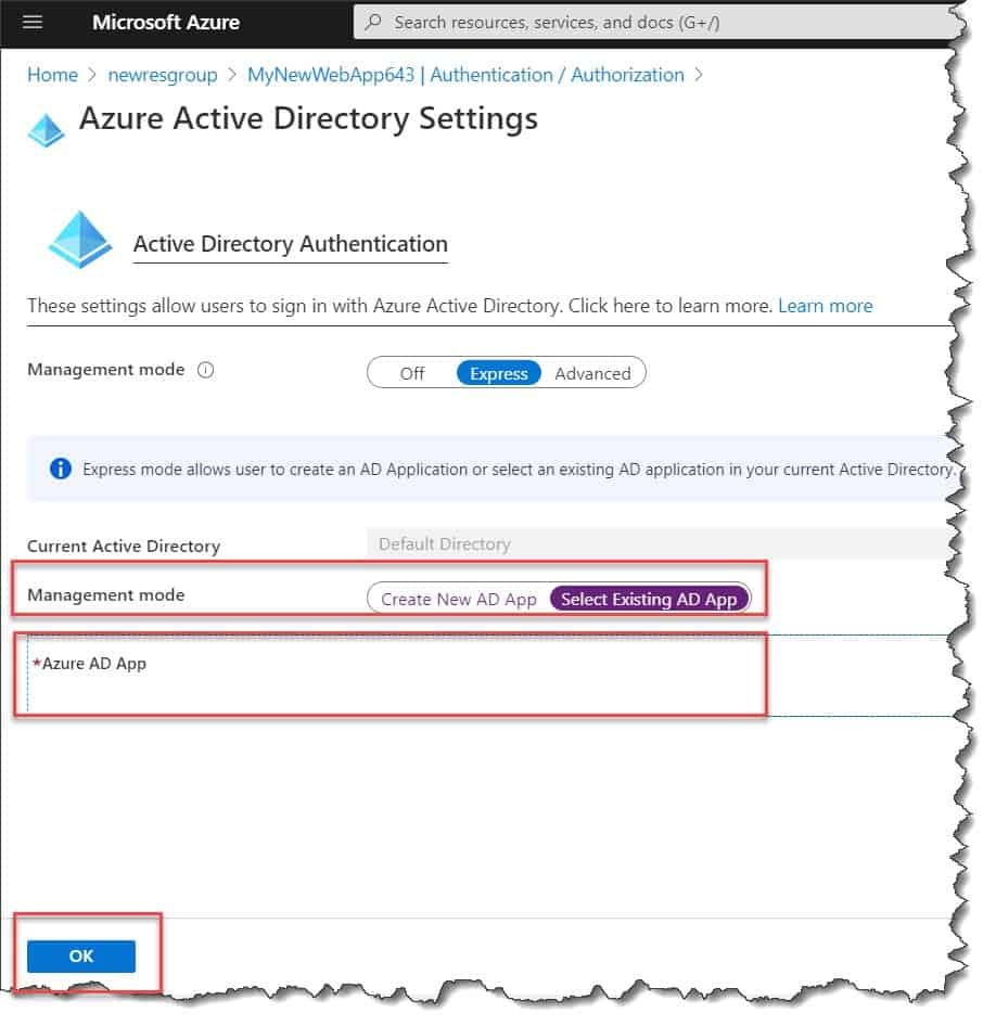 Configure Azure web app authentication