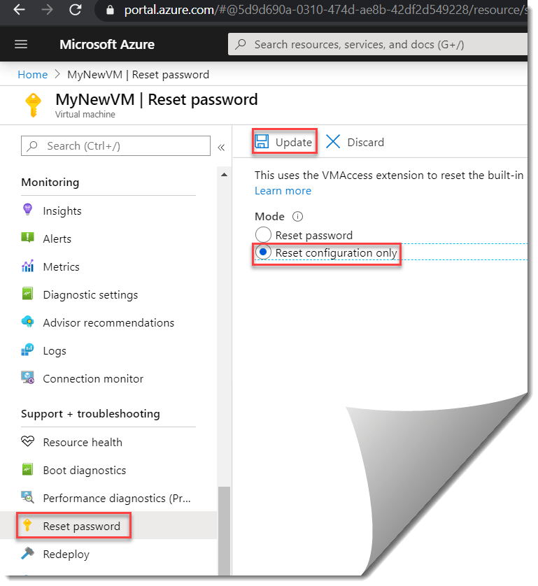 How to do Azure virtual machine reset configuration