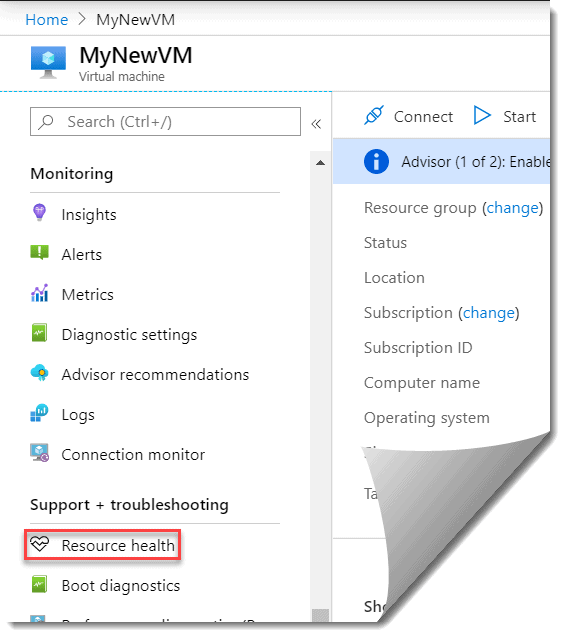 Check resource health of your Azure VM