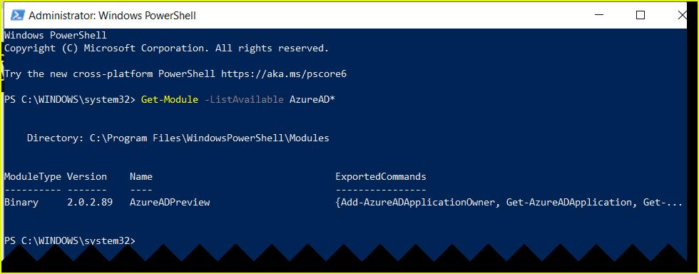 Check which AzureADPreview module installed
