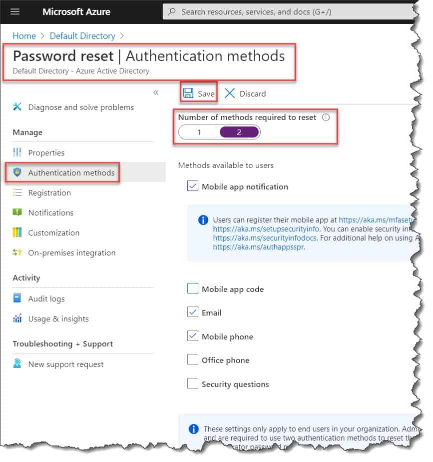 Enable self-service password reset azure ad