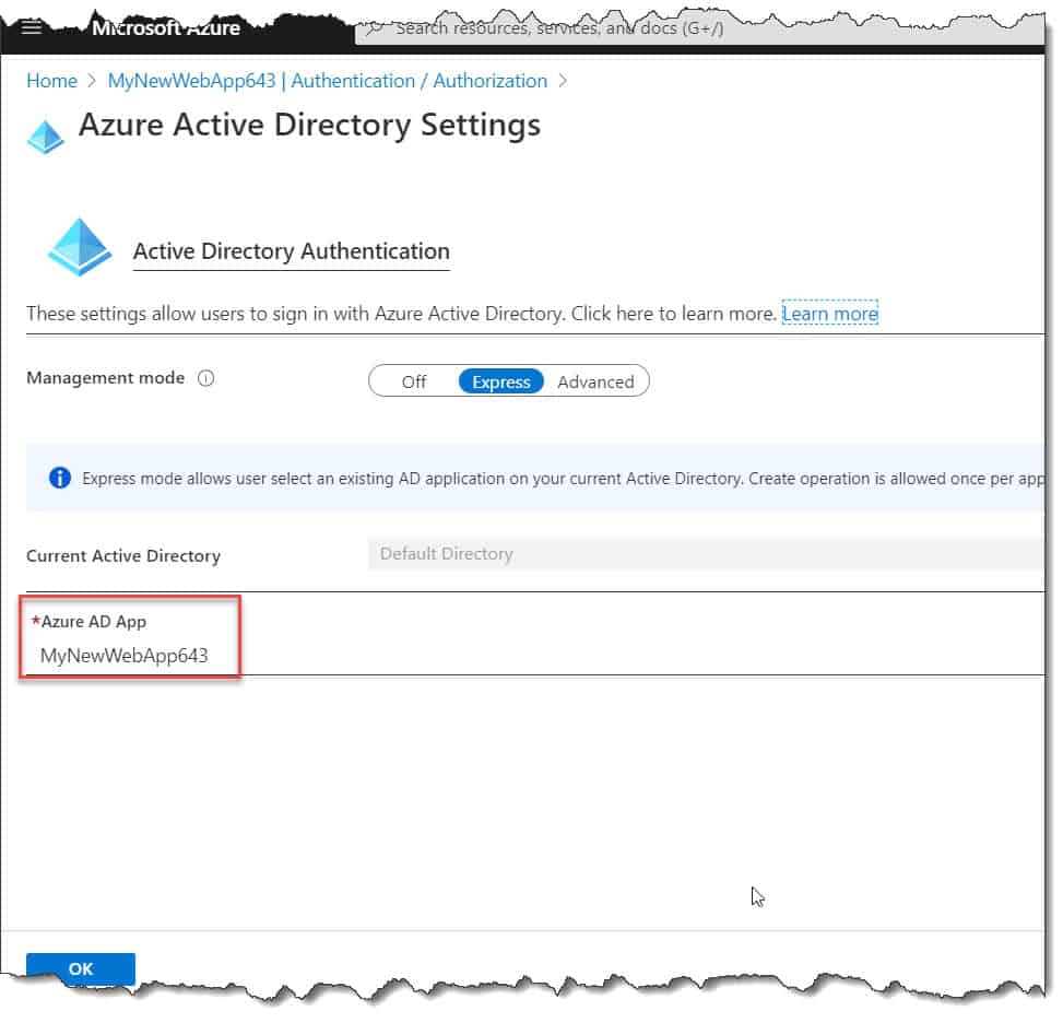 How to configure authentication in Azure web app