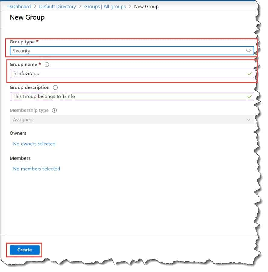 Create a security group in Azure active directory