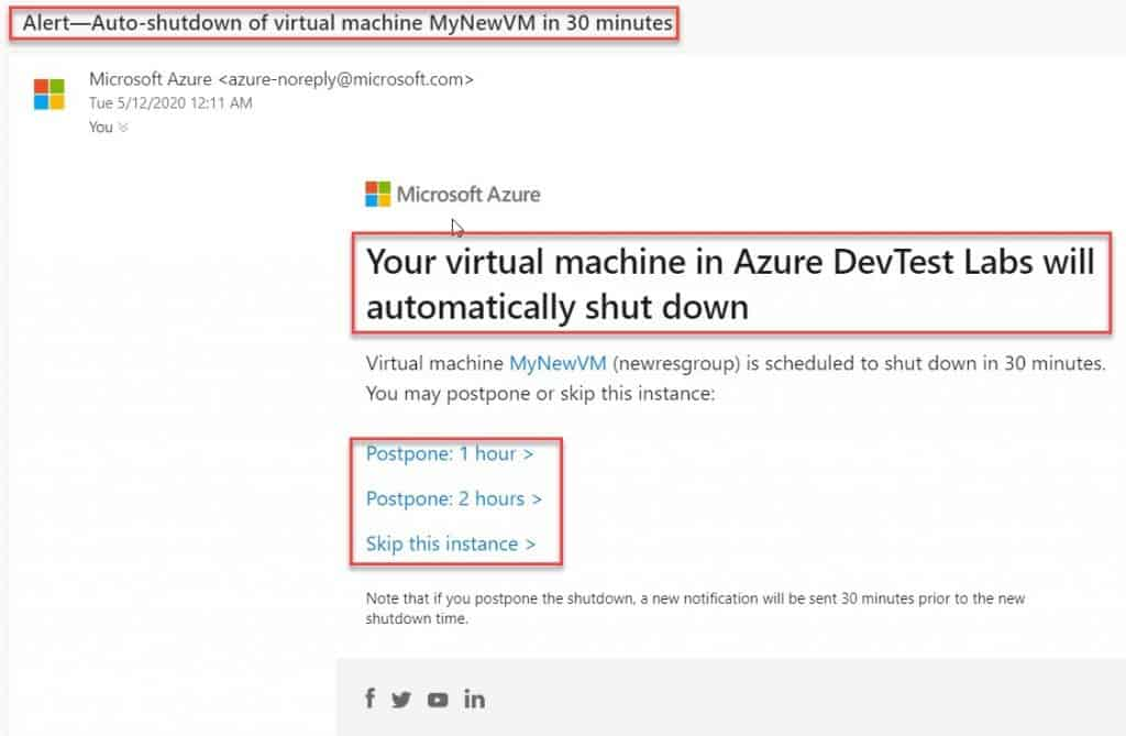 Email notification for azure VM auto shutdown option