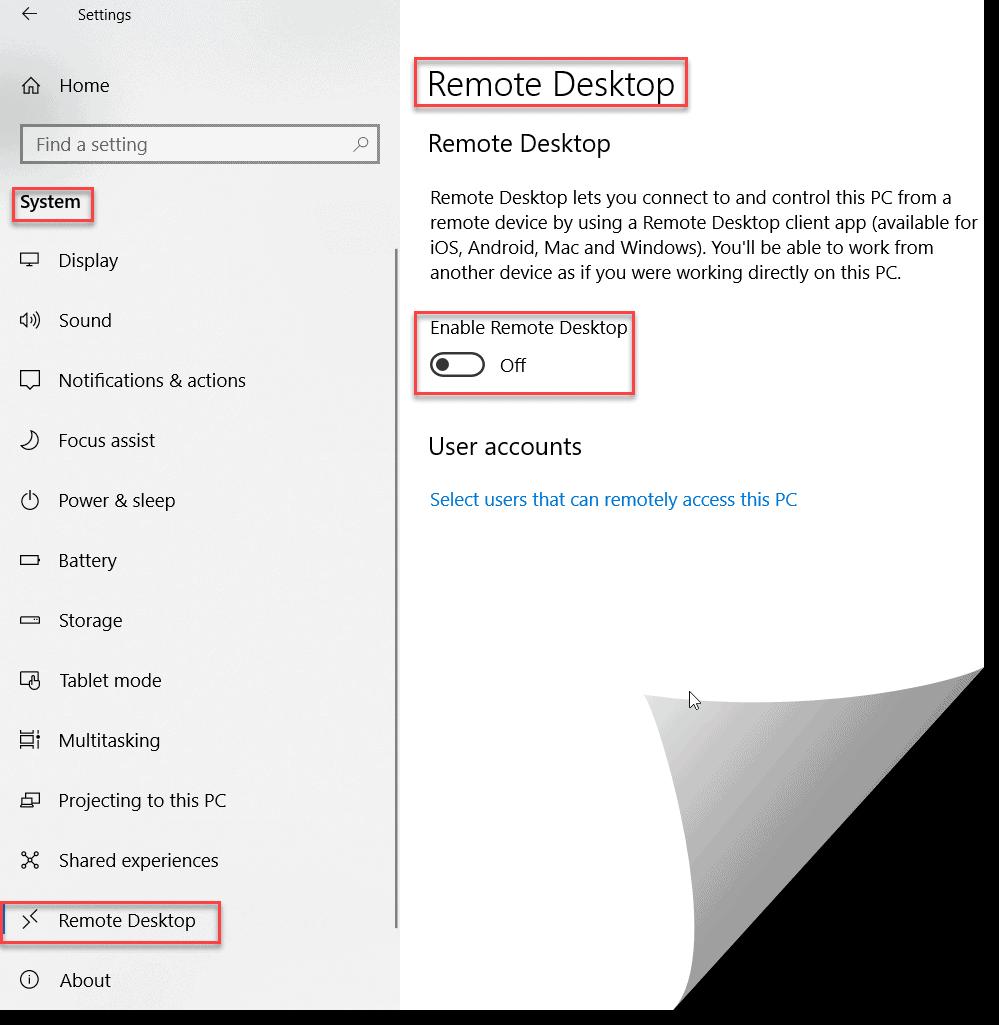 Enable remote desktop option in azure virtual machine