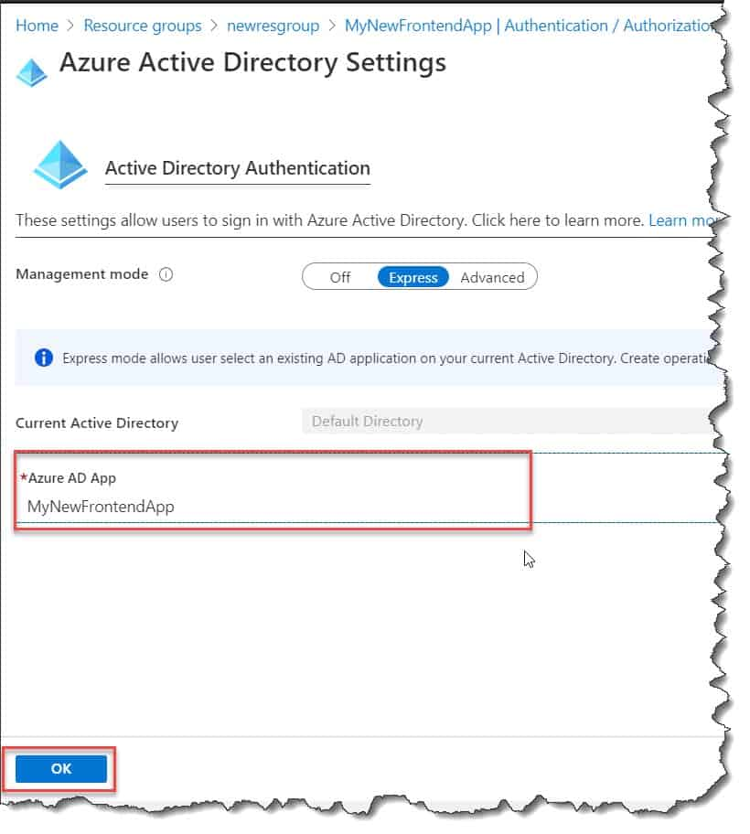 Enable the web app authentication and authorization for the front end application