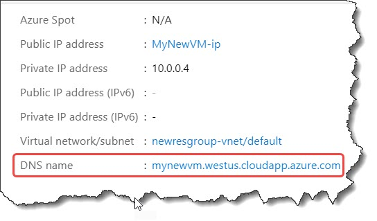 How do I add a DNS to Azure VM?