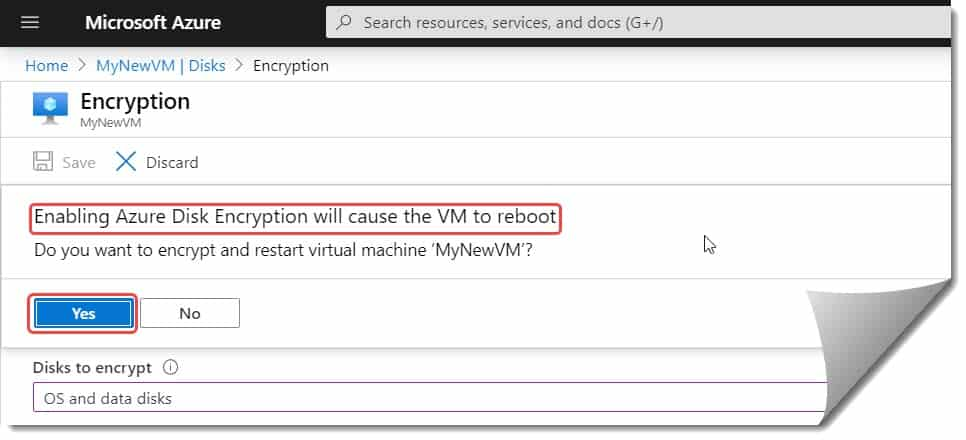 How to add encryption option Azure VM