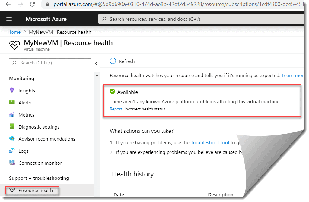 How to check resource health of your Azure VM