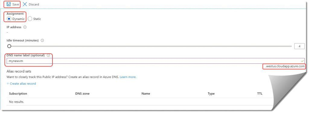 How to configure the DNS name in Azure
