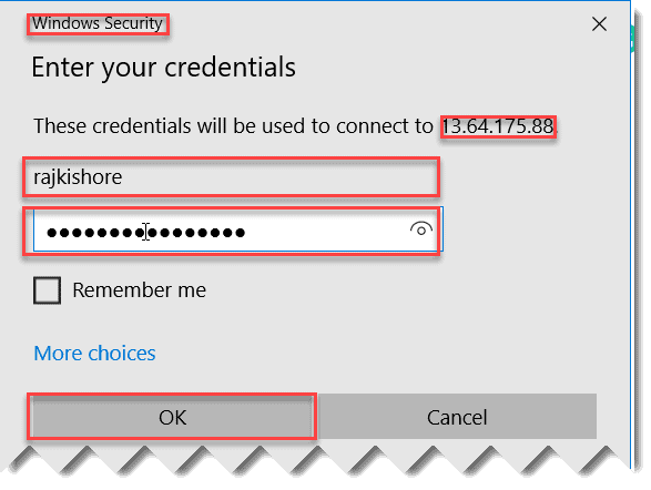 Connect to the Azure virtual machine using RDP