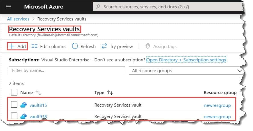 How to create Recovery services vaults in Azure