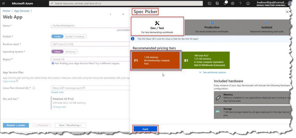 create a web app in Azure portal