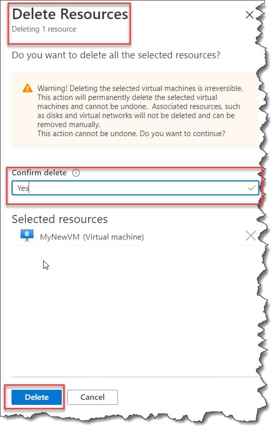 How to delete an Azure Virtual Machine