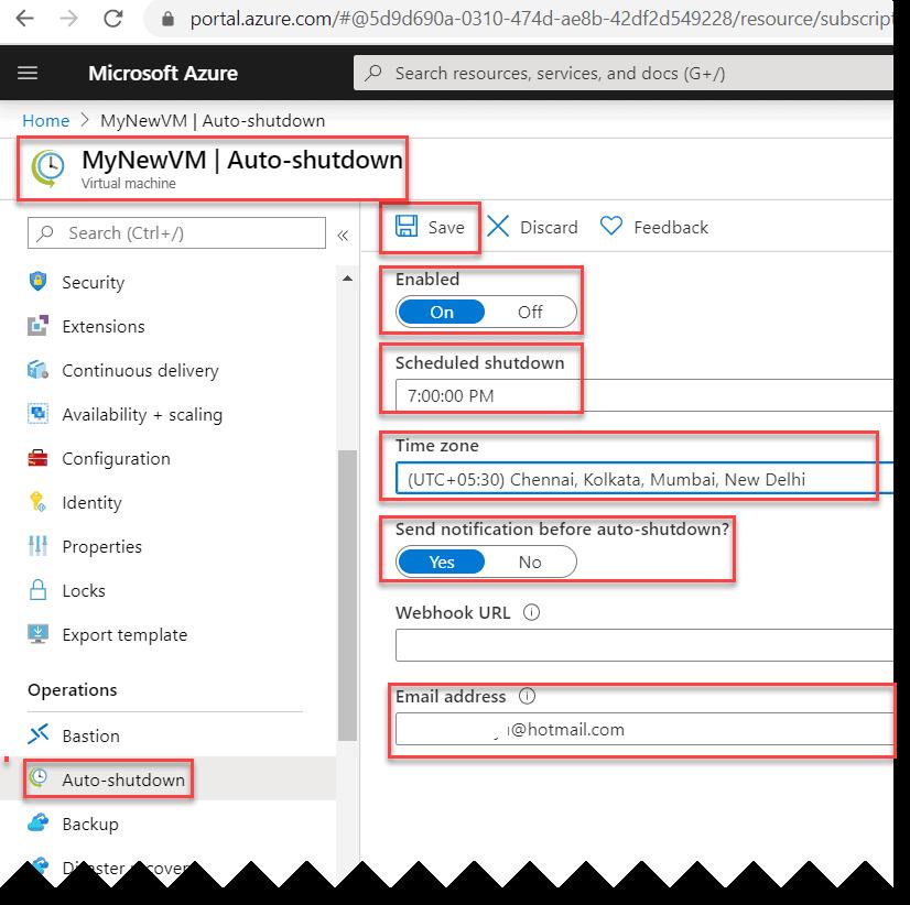 How to enable Auto-shutdown option in Azure VM