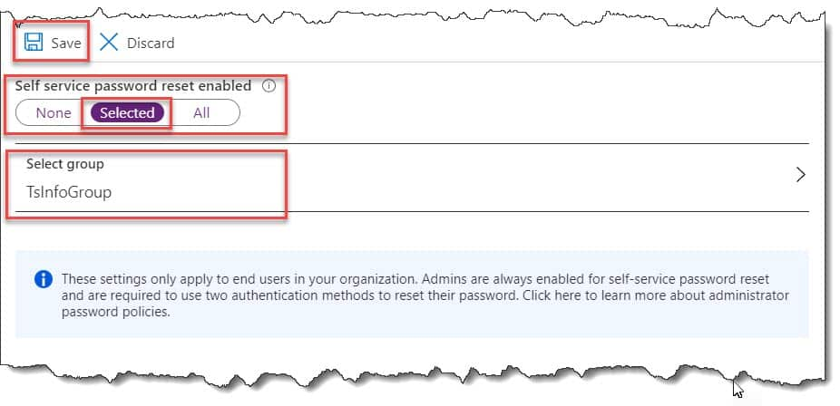 How to enable self service password reset policy in Azure Active Directory