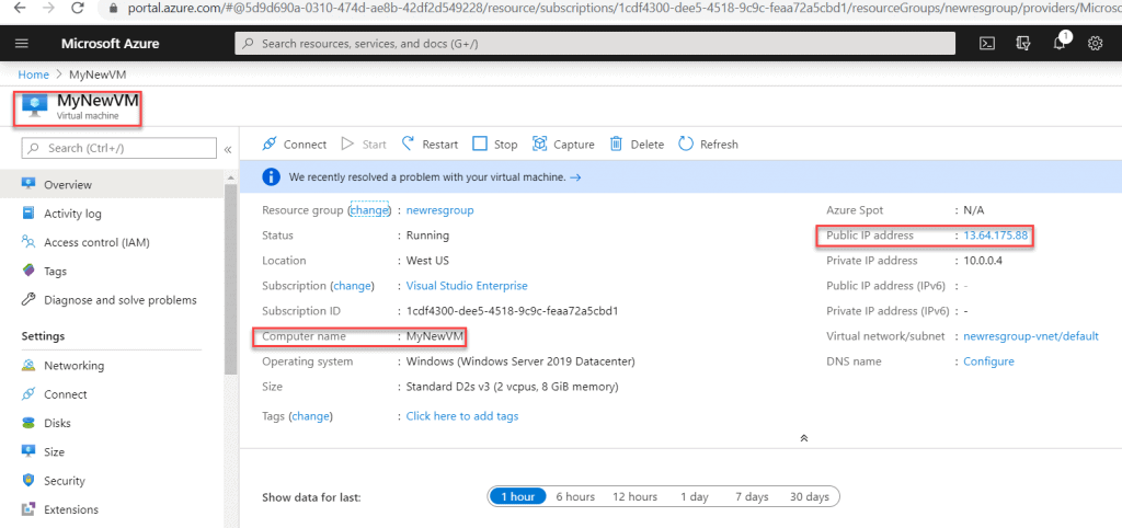 How to get the public ip address of your virtual machine in Azure