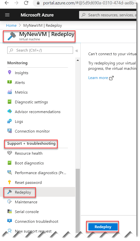 How to redeploy your Azure VM