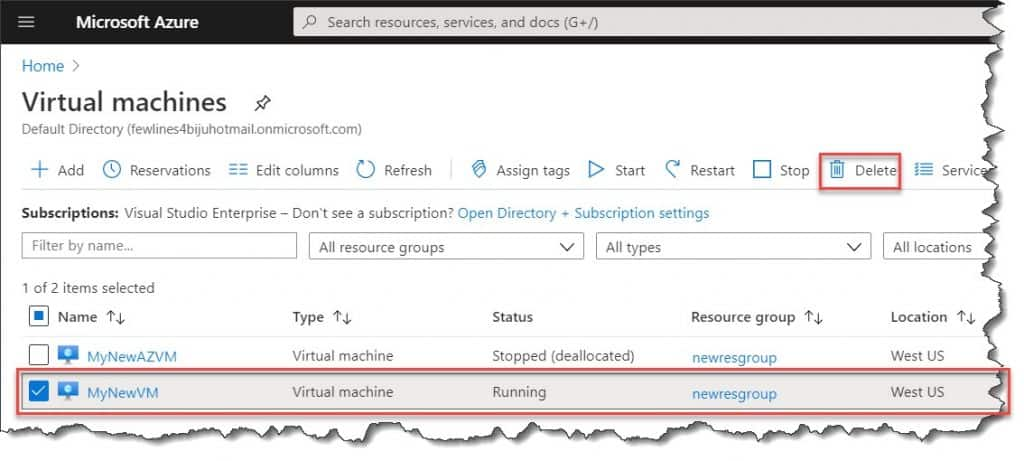 How to remove an Azure Virtual Machine
