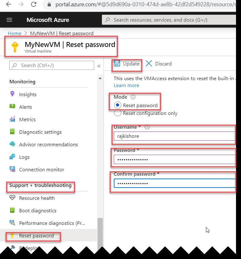 How to reset password of your Azure VM