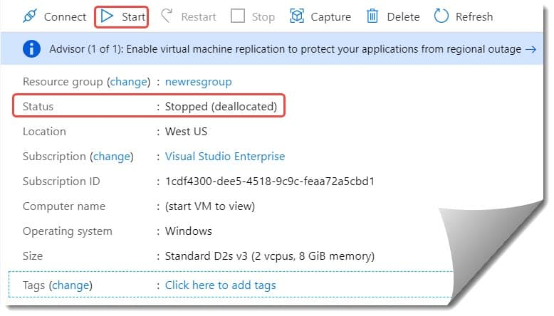 How to reset the password of the Azure virtual machine