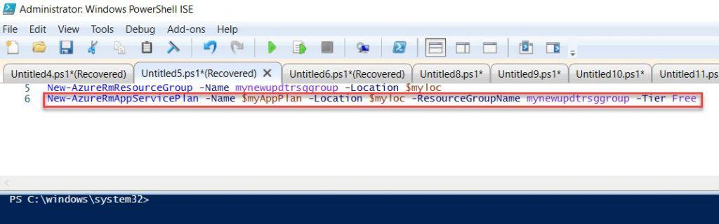 How to set an Azure web app using PowerShell