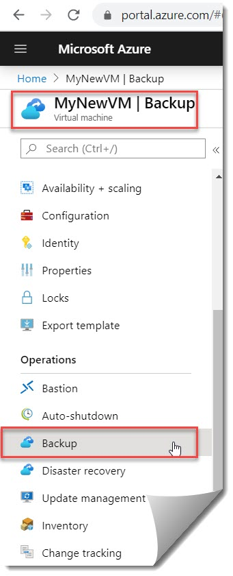 How to take Azure VM back up