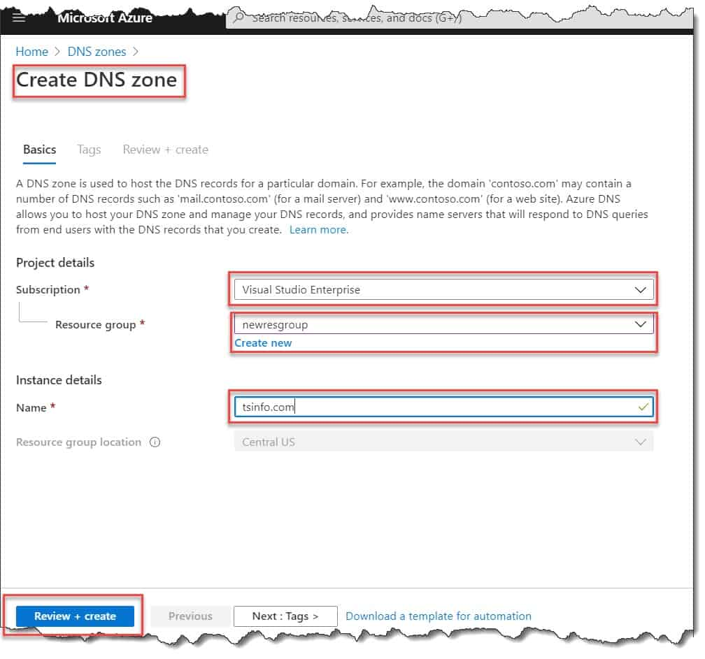 How to use a DNS zone in Azure in Azure portal