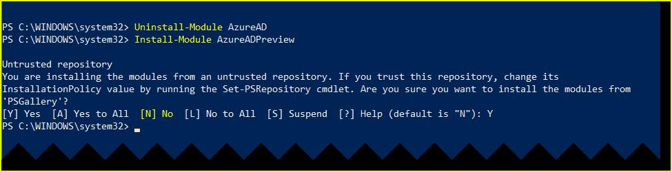 Install AzureADPreview module
