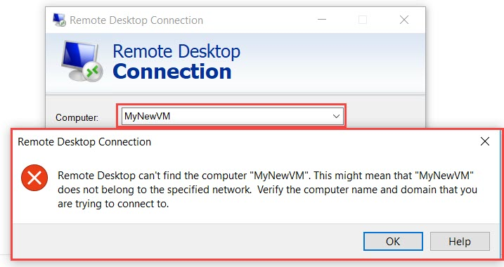 """Remote Desktop can't find the computer """"name"""""""