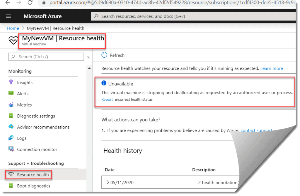 Resource health Unavailable for my VM