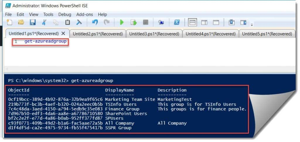 Retrieve the existing groups from AzureAD using PowerShell