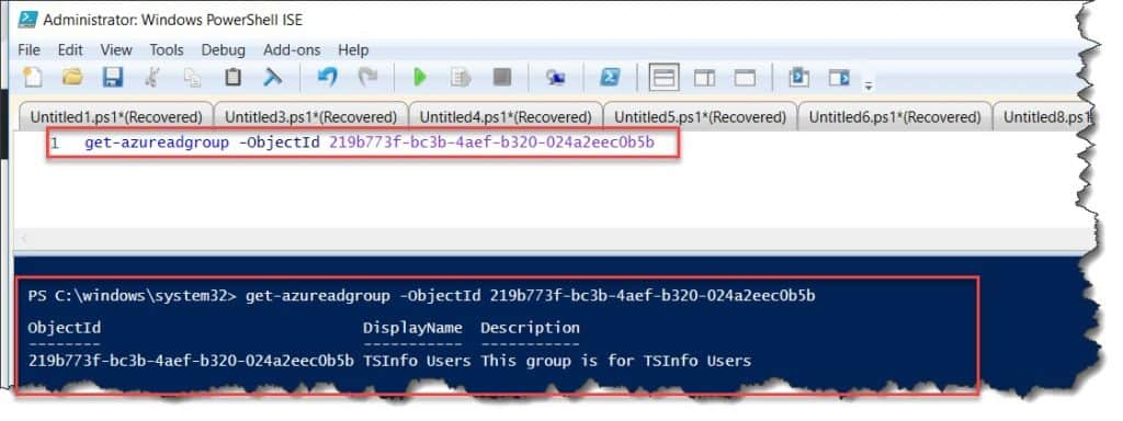 Retrieve the specific group from AzureAD using PowerShell