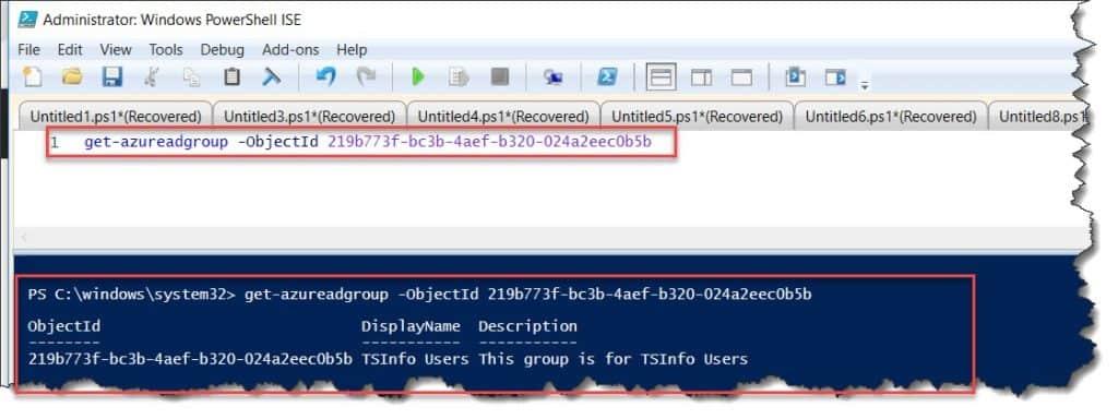 Retrieve specific group from AzureAD using PowerShell