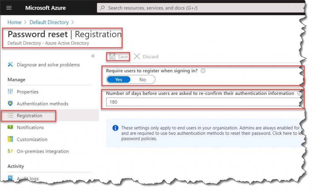configure the users to be prompted for registration when they next sign in