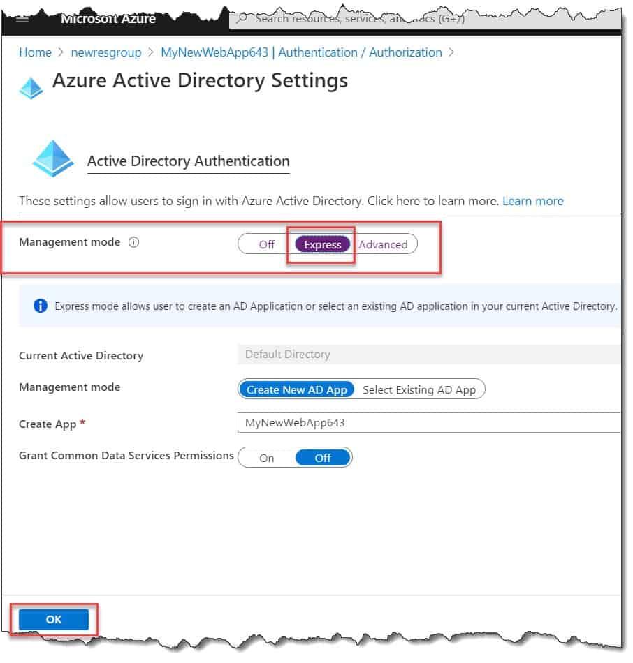 Azure web app authentication
