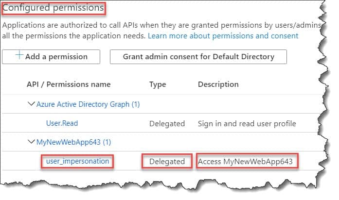 how to Grant permission to the front end to access to the back end in Azure