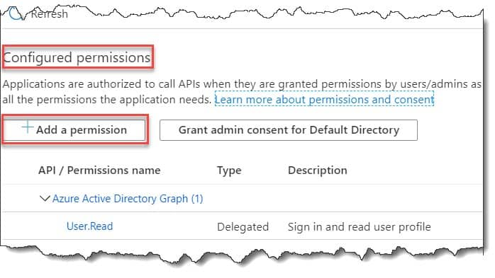 how to configure enable the web app authentication and authorization for the front end application