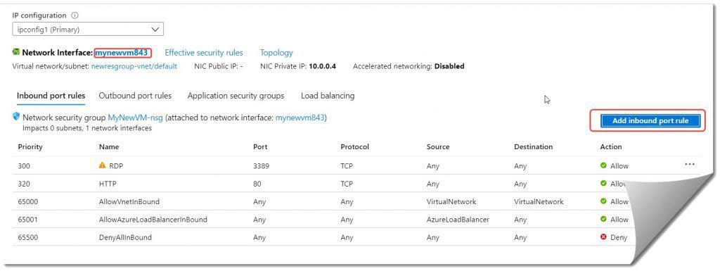 how to open Azure virtual machine port