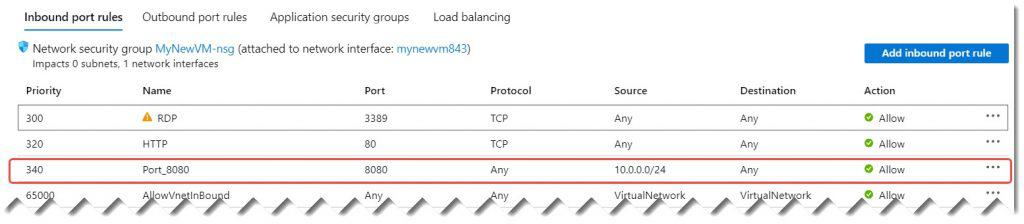 how to open virtual machine port in Azure