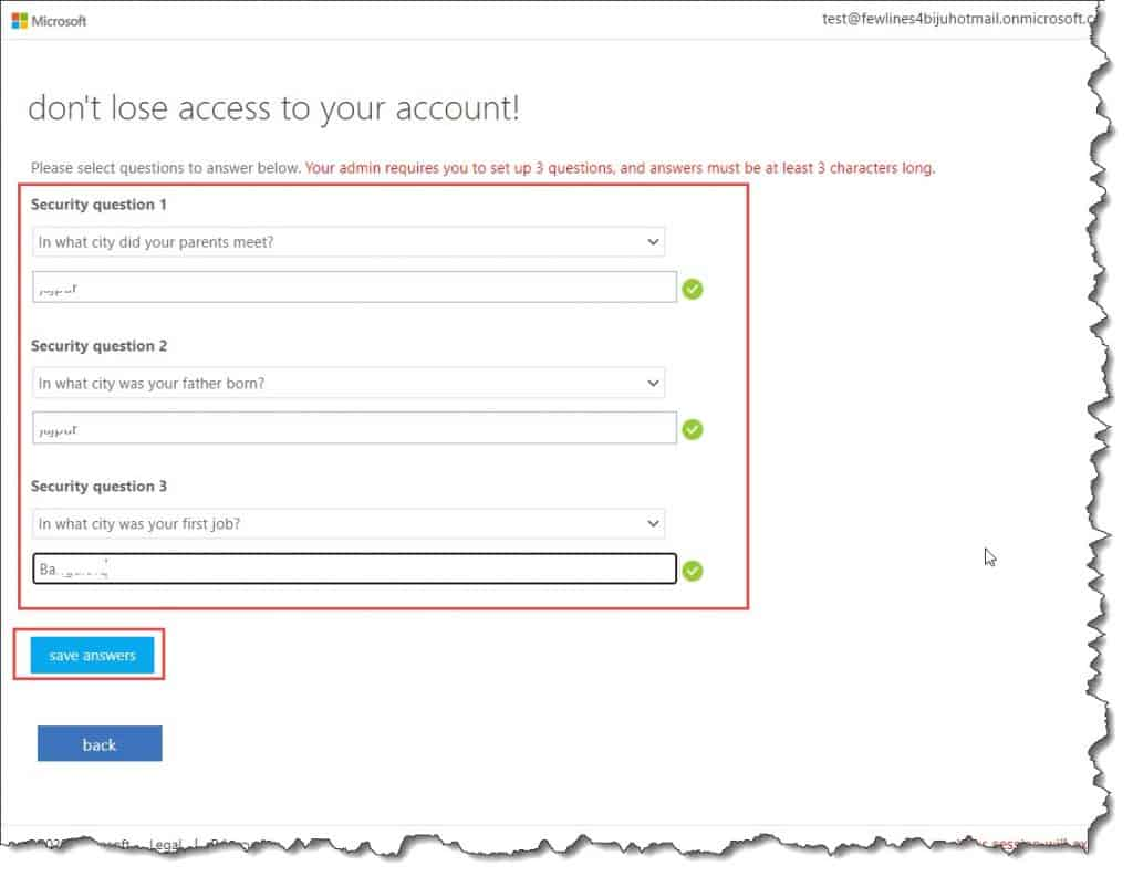 how to set self-service password reset azure ad