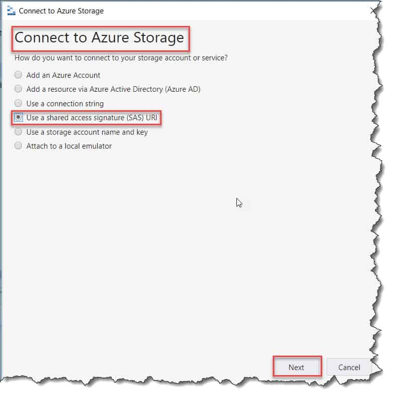 Add a resource via shared access signature (SAS) URI