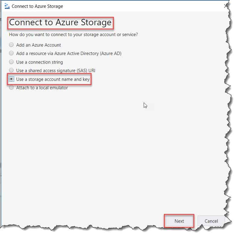 Add a resource via storage account name and key