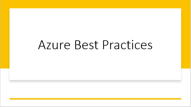Azure best practices