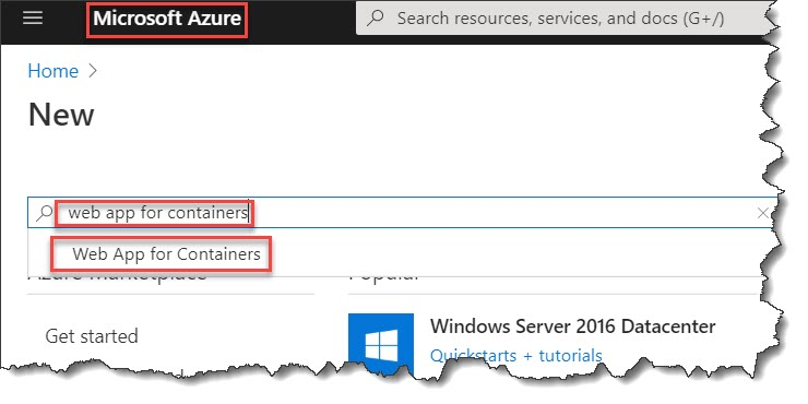 Azure web app for containers