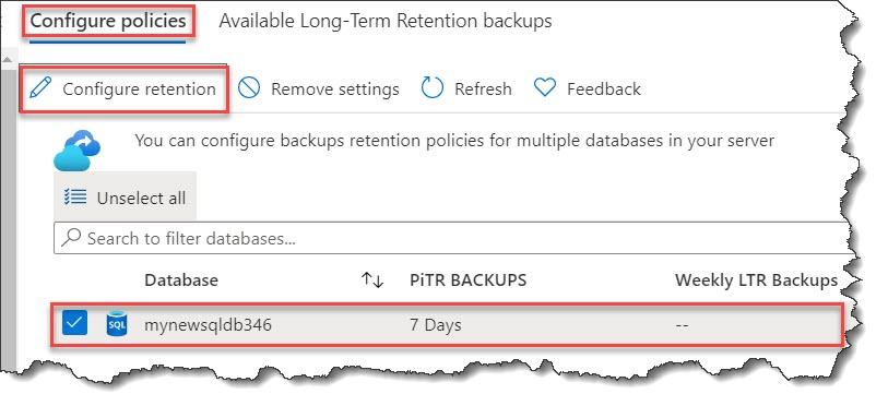 Configure backup Azure SQL database